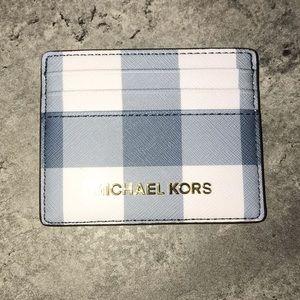 ❤️Michael Kors Blue Plaid Card Holder- brand new❤️